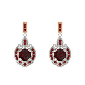 Round Red Garnet Platinum Earring with Ruby
