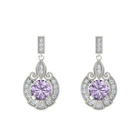 Round Rose de France Platinum Earring with Diamond