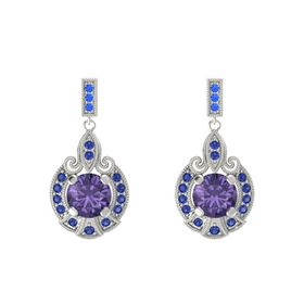 Round Iolite Platinum Earrings with Sapphire