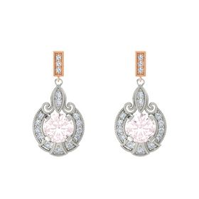 Round Rose Quartz Platinum Earring with Diamond