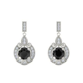 Round Black Diamond Platinum Earrings with Diamond