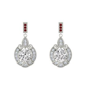 Round White Sapphire Platinum Earrings with Diamond & Ruby