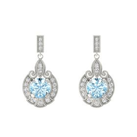 Round Aquamarine Platinum Earring with White Sapphire