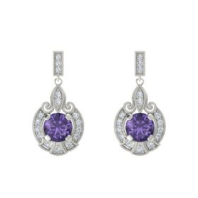 Round Iolite Platinum Earring with Diamond