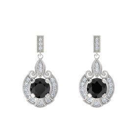 Round Black Diamond Sterling Silver Earring with Diamond