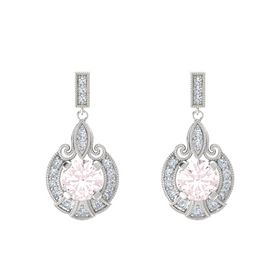 Round Rose Quartz Sterling Silver Earrings with Diamond