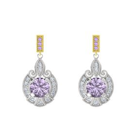 Round Rose de France Sterling Silver Earring with Diamond and Iolite