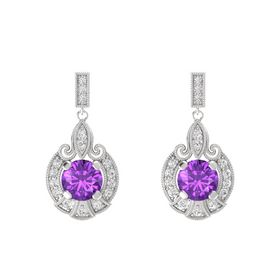 Round Amethyst Sterling Silver Earring with White Sapphire