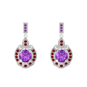 Round Amethyst Sterling Silver Earring with Ruby and Amethyst