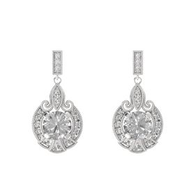 Round Rock Crystal Sterling Silver Earrings with Rock Crystal & White Sapphire
