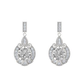 Round Rock Crystal Sterling Silver Earring with Diamond
