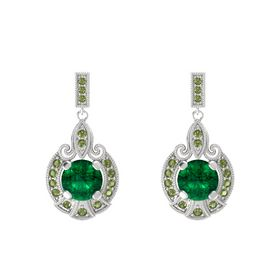 Round Emerald Sterling Silver Earring with Green Tourmaline
