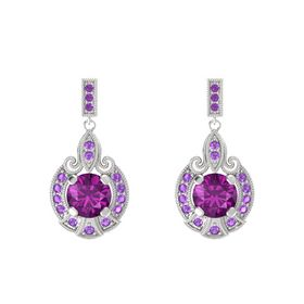Round Rhodolite Garnet Sterling Silver Earring with Amethyst
