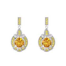 Round Citrine Sterling Silver Earring with Yellow Sapphire