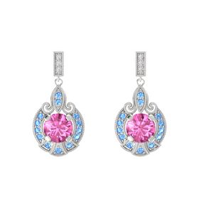 Round Pink Sapphire Sterling Silver Earrings with Blue Topaz & White Sapphire