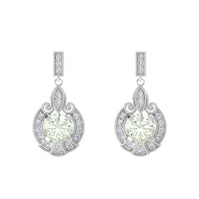 Round Green Amethyst Sterling Silver Earrings with Diamond