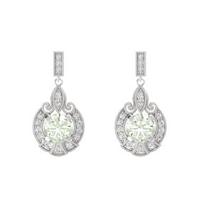 Round Green Amethyst Sterling Silver Earrings with White Sapphire