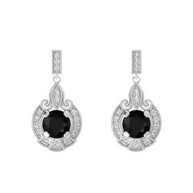 Round Black Onyx Sterling Silver Earring with Diamond