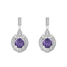 Round Iolite Sterling Silver Earrings with Diamond