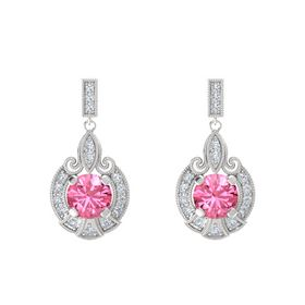 Round Pink Tourmaline Sterling Silver Earring with Diamond