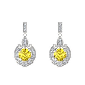Round Yellow Sapphire Sterling Silver Earrings with Diamond