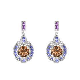 Round Smoky Quartz Sterling Silver Earring with Tanzanite and Amethyst