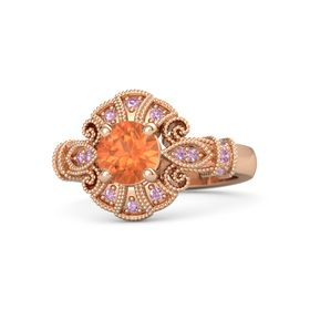 Round Fire Opal 14K Rose Gold Ring with Pink Tourmaline & Pink Sapphire