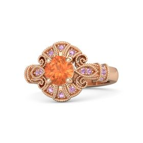 Round Fire Opal 14K Rose Gold Ring with Pink Tourmaline