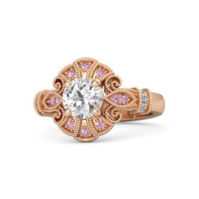 Round White Sapphire 14K Rose Gold Ring with Blue Topaz and Pink Sapphire