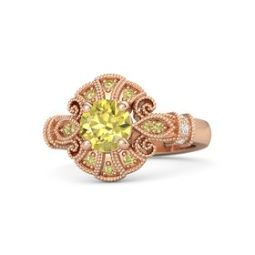Round Yellow Sapphire 14K Rose Gold Ring with White Sapphire & Yellow Sapphire