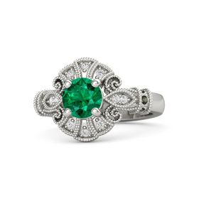 Round Emerald 14K White Gold Ring with Green Tourmaline & White Sapphire