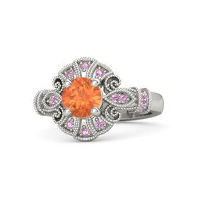 Round Fire Opal 14K White Gold Ring with Pink Tourmaline