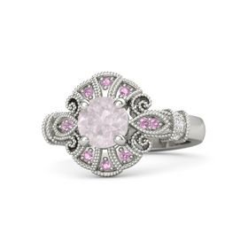 Round Rose Quartz 14K White Gold Ring with White Sapphire & Pink Tourmaline