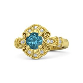 Round London Blue Topaz 14K Yellow Gold Ring with Diamond