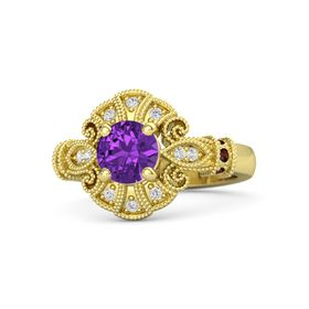 Round Amethyst 14K Yellow Gold Ring with Red Garnet & White Sapphire
