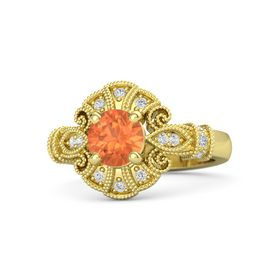 Round Fire Opal 14K Yellow Gold Ring with Diamond and White Sapphire