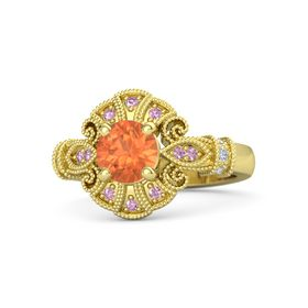 Round Fire Opal 14K Yellow Gold Ring with Diamond and Pink Sapphire