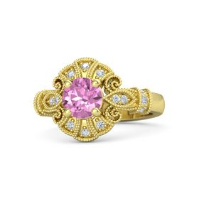 Round Pink Sapphire 14K Yellow Gold Ring with Diamond