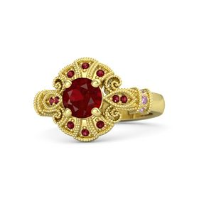 Round Ruby 14K Yellow Gold Ring with Pink Sapphire and Ruby