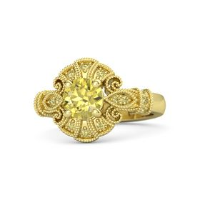 Round Yellow Sapphire 14K Yellow Gold Ring with Yellow Sapphire