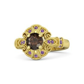 Round Smoky Quartz 14K Yellow Gold Ring with Amethyst