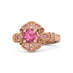 Round Pink Tourmaline 18K Rose Gold Ring with Pink Tourmaline