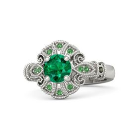 Round Emerald 18K White Gold Ring with Green Tourmaline and Emerald