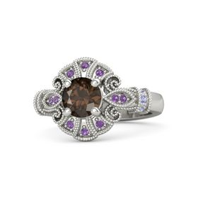 Round Smoky Quartz 18K White Gold Ring with Tanzanite and Amethyst