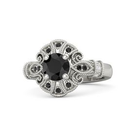 Round Black Diamond Palladium Ring with White Sapphire & Black Diamond