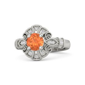 Round Fire Opal Palladium Ring with White Sapphire
