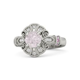 Round Rose Quartz Palladium Ring with Pink Sapphire and White Sapphire