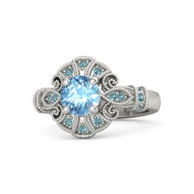 Round Blue Topaz Palladium Ring with London Blue Topaz