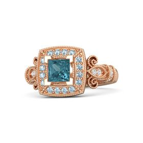 Princess London Blue Topaz 14K Rose Gold Ring with Aquamarine and White Sapphire