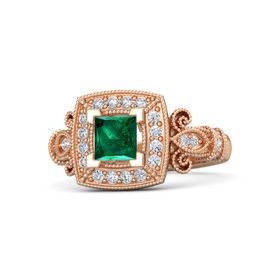 Princess Emerald 14K Rose Gold Ring with Diamond